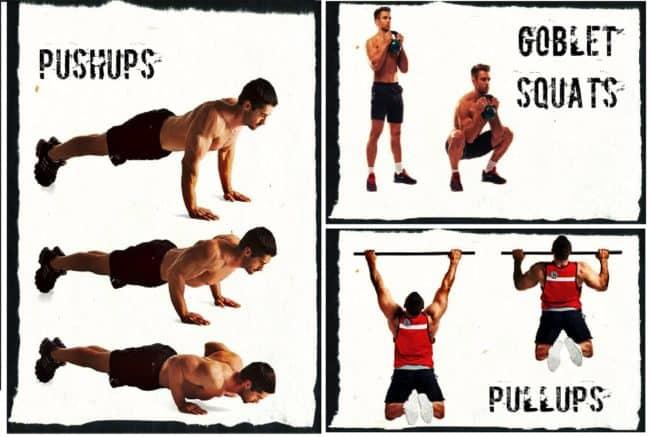 Подтягивания, приседания и отжимания - кроссфит упражнения