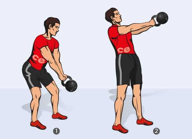 Упражнение махи гирей двумя руками