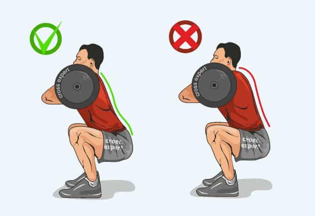 Правильное положение спины при приседе