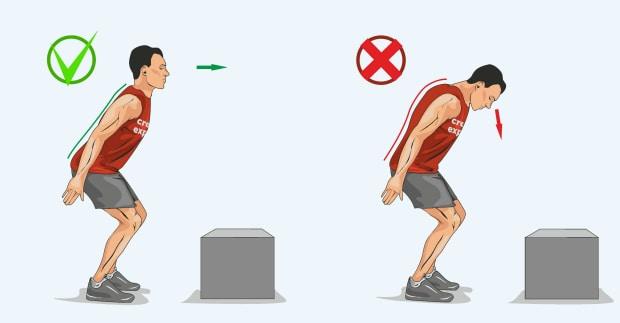 Правильное положение головы при прыжках