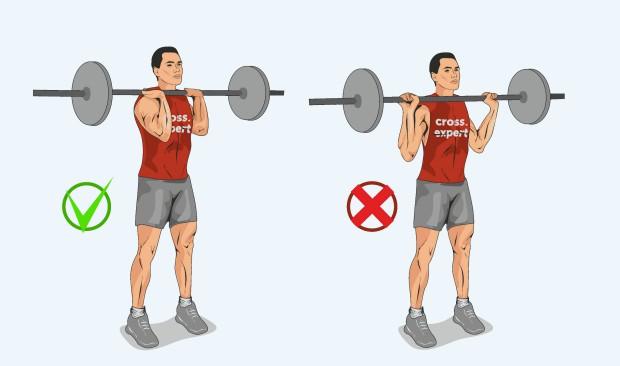 Правильное удержание штанги на плечах
