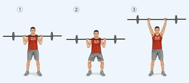 Техника выполнения упражнения жимовой швунг