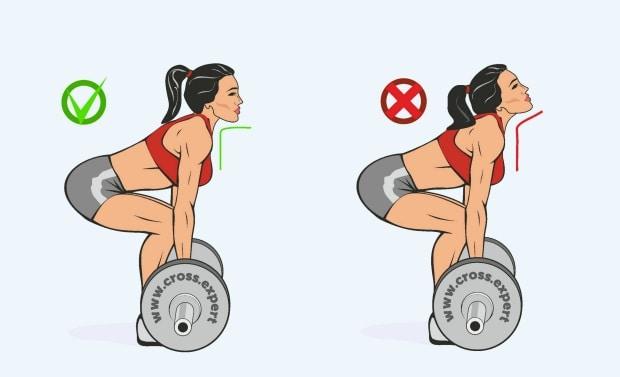 Правильное положение головы во время тяги