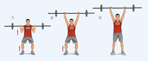 Упражнение толчковый швунг штанги