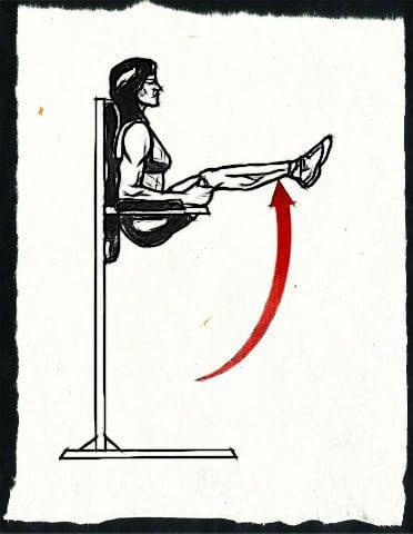 Упражнение уголок на брусьях (на шведской стенке)
