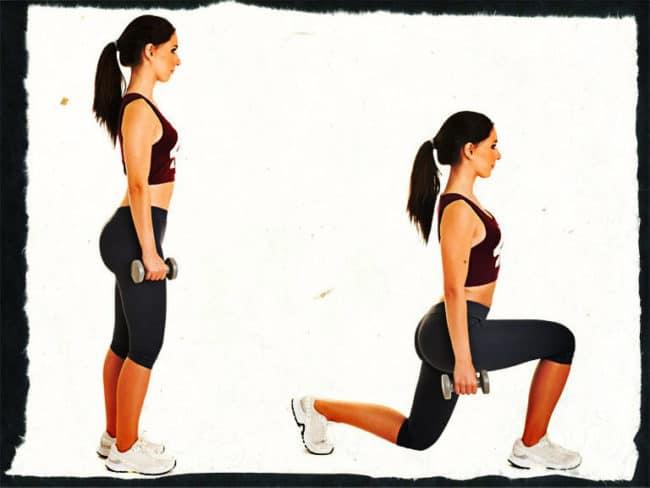 Выпады с гантелями - упражнение