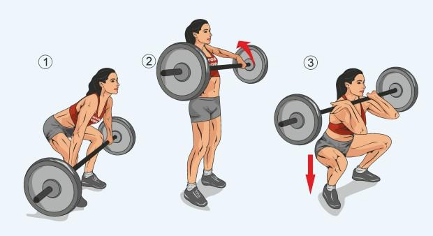 Упражнение взятие штанги на грудь в сед