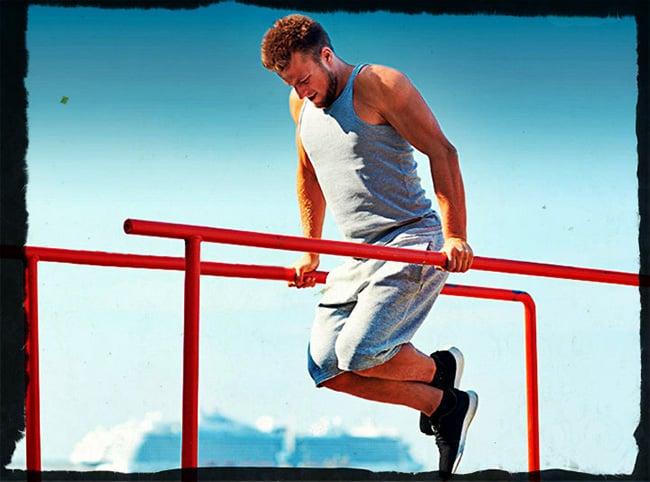 Негативные отжимания на брусьях упражнение