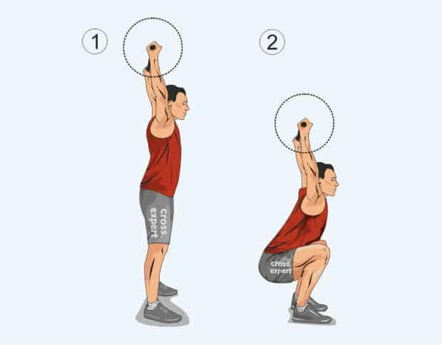 Упражнение приседания со штангой над головой