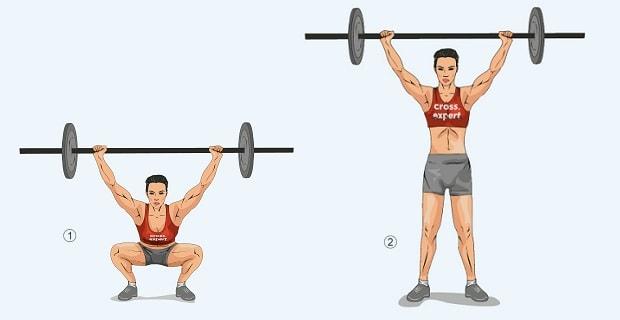 Упражнение рывок со штангой