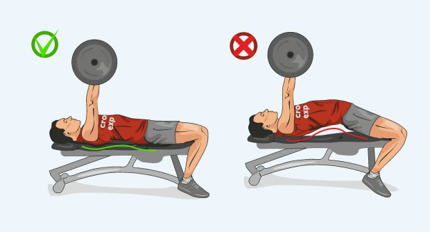Правильное положение на скамье