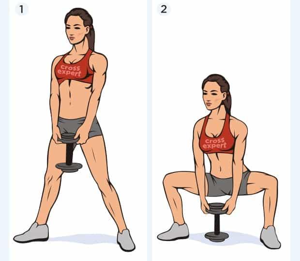 Упражнение приседание плие с гантелью