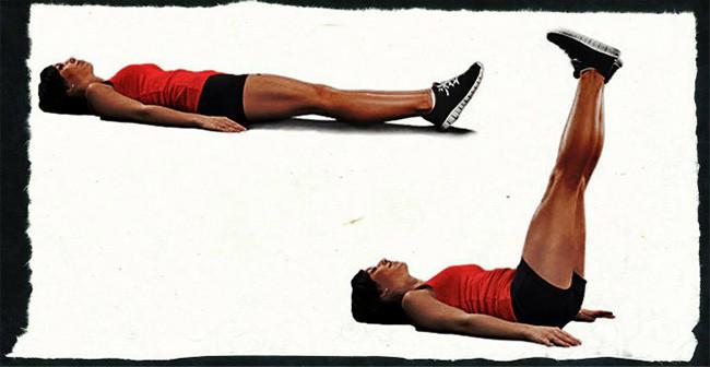 Подъем ног лежа упражнение для пресса