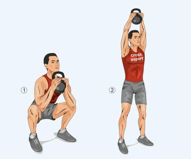 Упражнение выбросы гири двумя руками