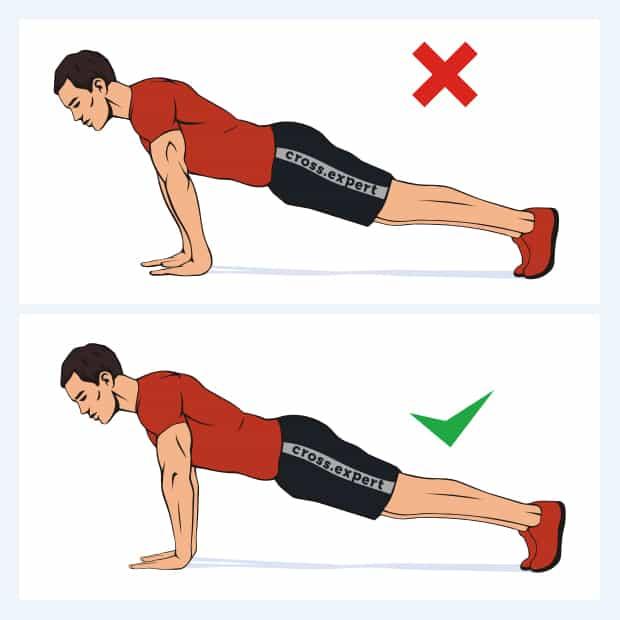 ошибка при отжиманиях - прогиб спины