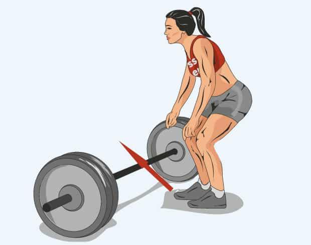 Упражнение бёрпи с перепрыгиванием штанги