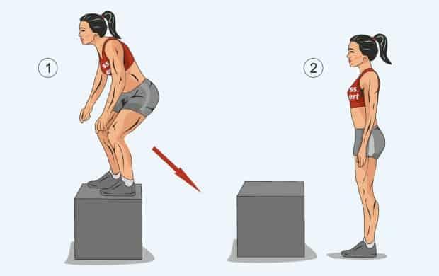 Четвертая фаза упражнения берпи с запрыгиванием на коробку
