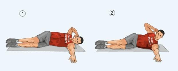 Скручивания лежа на боку