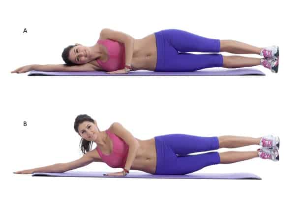 Подъемы ног и корпуса лежа на боку