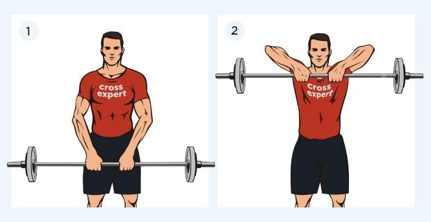 Упражнение протяжка стоя со штангой
