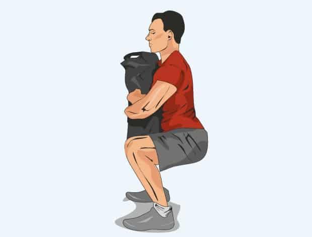 Упражнение приседания с мешком