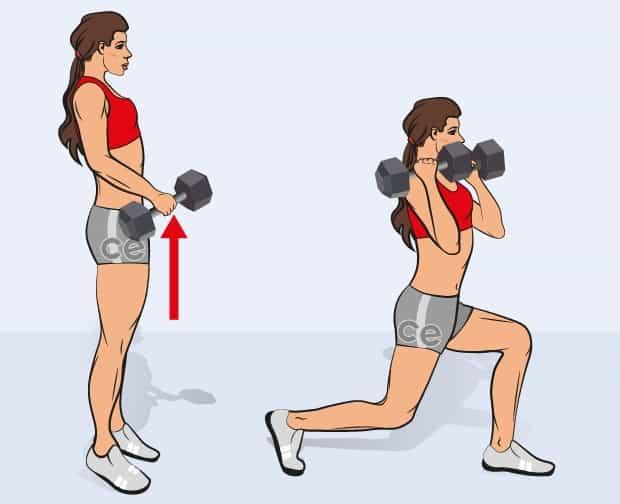 Упражнение силовое взятие гантелей на грудь