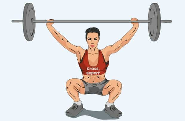 Вторая фаза упражнения силовой балансовый рывок штанги