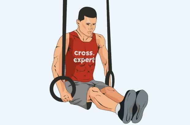 Упражнение удержание уголка на кольцах