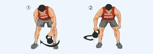 Вторая фаза упражнения восьмерка с гирей