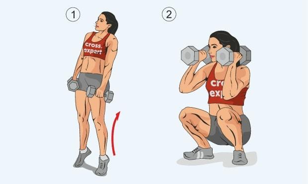Вторая фаза упражнения взятие гантелей с виса на грудь