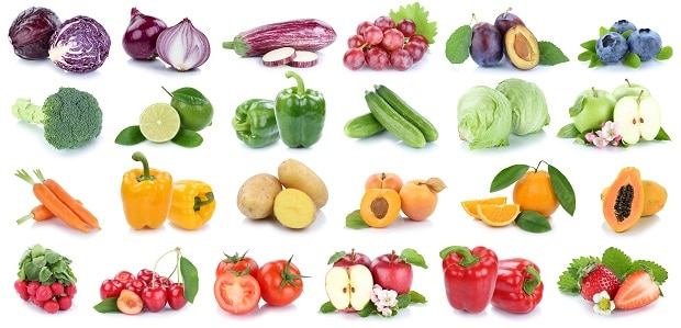 Овощи и фрукты по цветам