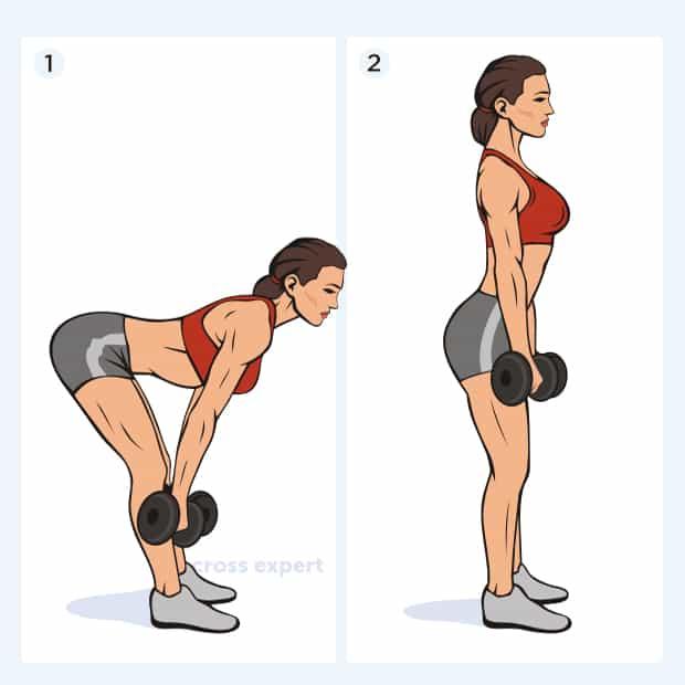 становая тяга с гантелями с прямой спиной