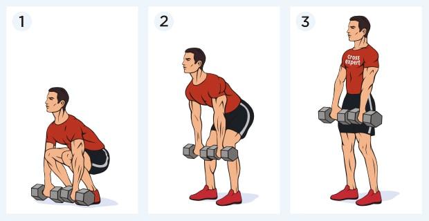 Классическая становая тяга с гантелями