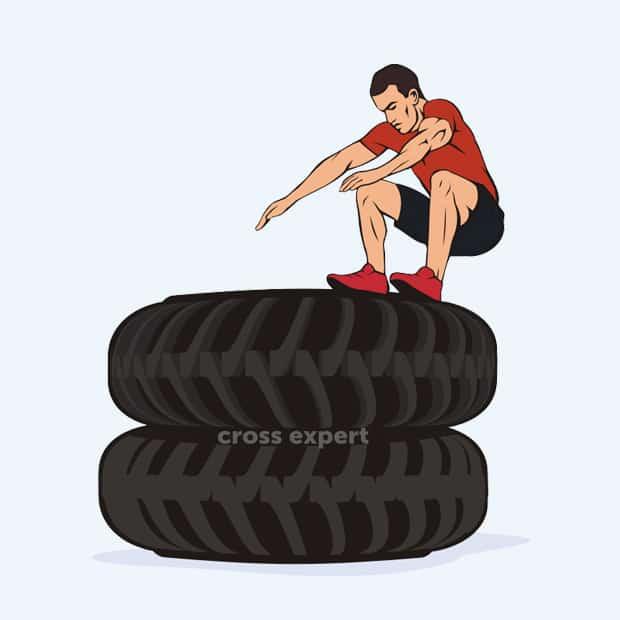 упражнение с покрышкой - прыжки