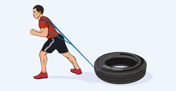 упражнение с покрышкой - тяга