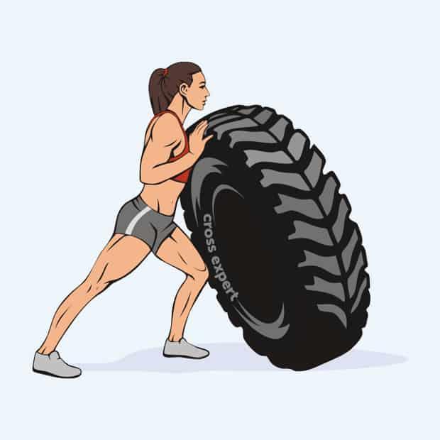упражнение с покрышкой