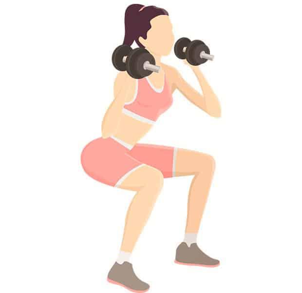 Упражнение приседания с гантелями на плечах