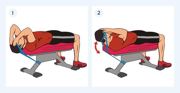 тренировка шеи с петлями лежа на скамье