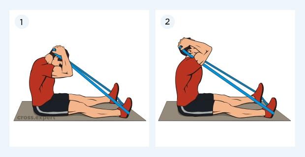 тренировка шеи с петлями сидя