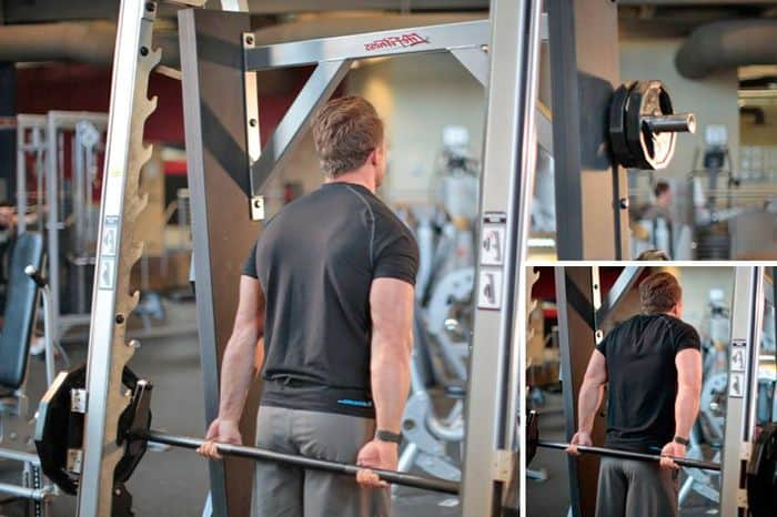 Шраги со штангой за спиной для трапецевидных мышц