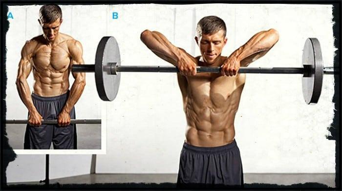 Тяга штанги к подбородку одно из упражнений для мышц спины