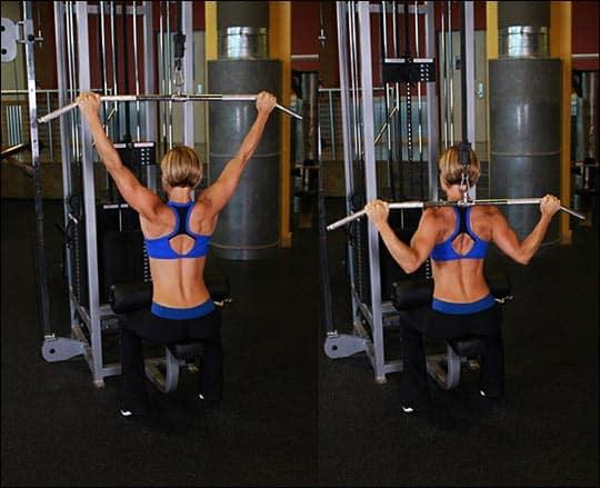 Тяга вертикального блока широким хватом изолирующее упражнение для спины