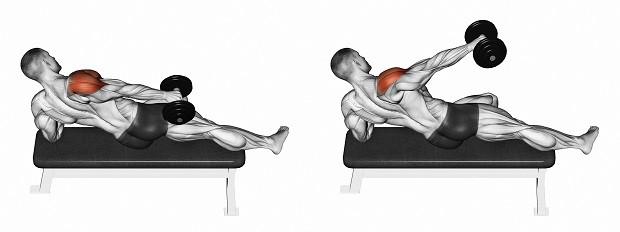 Подъемы рук в стороны лежа на боку на скамье