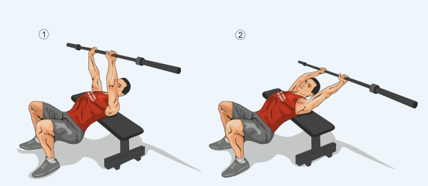 Упражнение пуловер со штангой
