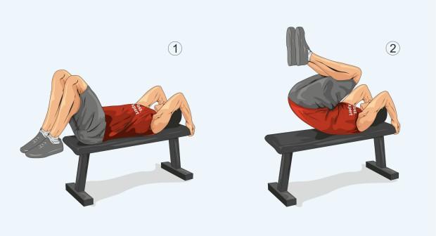 Обратные скручивания на прямой скамье