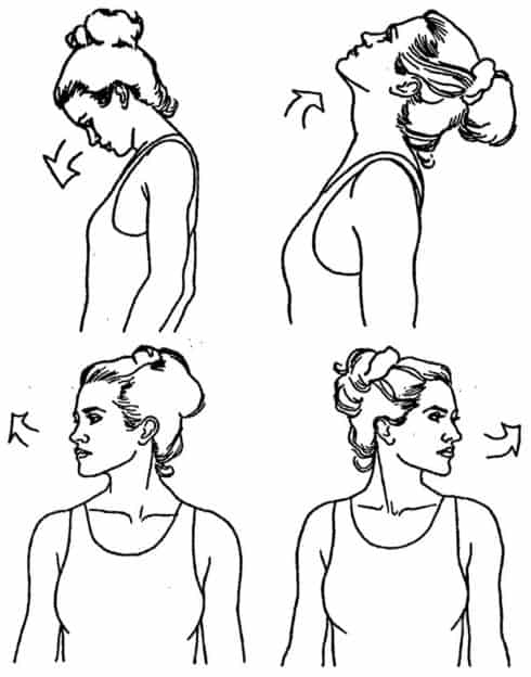 Наклоны головы назад и вбок для растяжки шеи