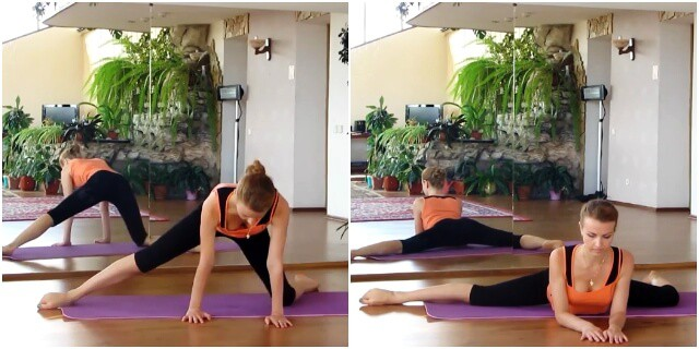 Упражнение для растяжки лягушка с вытянутой ногой