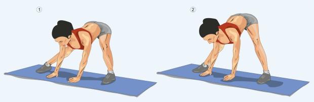 Перенос веса к одной ноге в наклоне