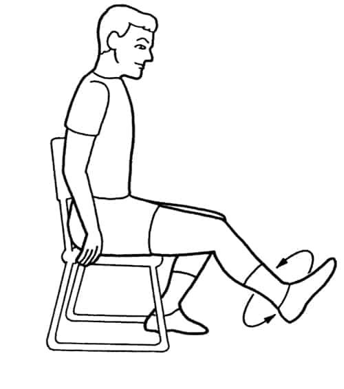 Вращение стопой на стуле