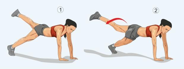 Планка с отведением ноги вбок поверх опорной